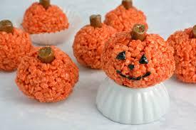 Halloween Ideas For Pumpkins by Peanut Butter Rice Krispie Treat Pumpkins Savory Experiments