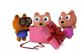 Papa Bear And Mama Opened Gift Boxes See Baby Bear3D Rend
