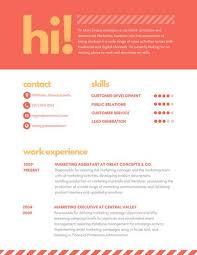 Orange Striped Marketing Assistant Creative Resume