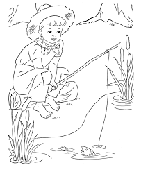 Boy Fishing Coloring Page
