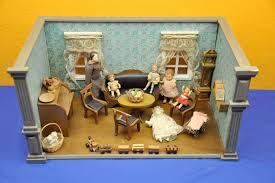 vintage puppenstube wohnzimmer mit puppen und zubehör