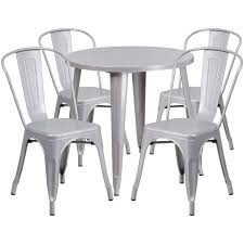 Flash Furniture | 30'' Round Silver Metal Indoor-Outdoor Table Set With 4  Cafe Chairs Restaurant Fniture In Alaide Tables And Chairs Cafe Fniture Projects Harrows Nz Stackable Caf Widest Range 2 Years Warranty Nextrend Western Fast Food Cafe Chairs Negoating Tables 35x Colourful Gecko Shell Ding Newtown Powys Stock Photo 24 Round Metal Inoutdoor Table Set With Due Bistro Chair Table Brunner Uk Pink Pool Design For Cafes Modern Background