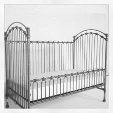 decorating elegant silver iron bratt decor crib with white bed