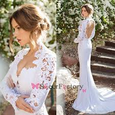 mermaid wedding dresses queen anne long sleeve embroidery lace