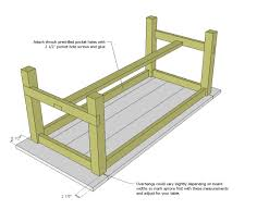 Diy Sewing Cabinet Plans by Ana White Farmhouse Table Updated Pocket Hole Plans Diy Projects