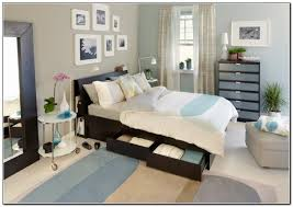 Exquisite Picture Of Blue And Grey Ikea USA Bedroom Decoration Using Narrow Black Wooden