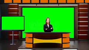 News 045 TV Studio Set Virtual Green Screen Background PSD