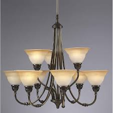 Transitional 9 Light Antique Brass Chandelier Free Shipping