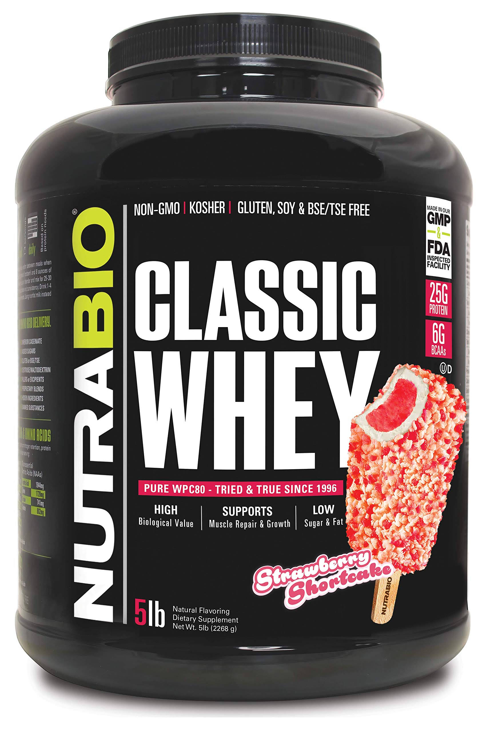 NutraBio Classic Whey Protein - 5 Pounds (Strawberry Shortcake)