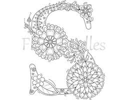 Welcome To Letter M By Fleurdoodles After Payment You Will Get 1 Digital PDF Floral LettersPrintable LettersMandala ColoringAdult Coloring PagesColoring