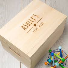 personalised wooden toy storage box for children baby by dust