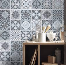 stickers cuisine carrelage vintage bleu gris carreaux sticker de décoration pour