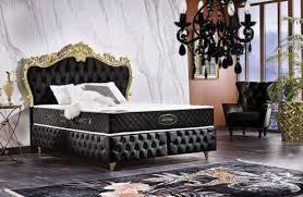 casa padrino barock doppelbett schwarz gold prunkvolles samt bett mit matratze komplett set barock schlafzimmer möbel