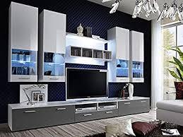 kryspol wohnwand alfa ii anbauwand wohnzimmer set modern design weiß weiß hochglanz grau hochglanz
