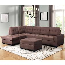 100 Modern Sofa Sets Designs Harper Bright Sectional 3 Piece Couches With Reversible Chaise Lounge Storage Ottoman And Cup Holders For Living Room Brown