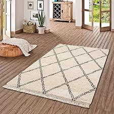 pergamon hochflor langflor shaggy teppich boho rauten creme in 5 größen