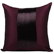 Amazon Plum Throw Pillows Cover for Couch Beaded Sparkly