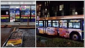 100 Truck And Bus Pulls ATM From Plaid Pantry Crashes Into TriMet Bus