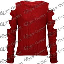 womens ladies cut out arms long sleeve baggy sweater knitwear
