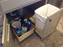 Under Cabinet Trash Can Holder by Traditional Kitchen With Pull Out Under Sink Trash Can Diy And