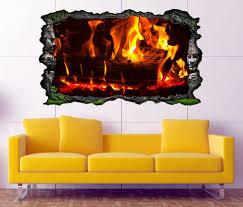 3d wandtattoo feuer lagerfeuer kamin flamme holz selbstklebend wandbild sticker wohnzimmer wand aufkleber 11k051 wandtattoos und leinwandbilder