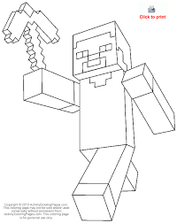 Minecraft Steve Coloring Pages From