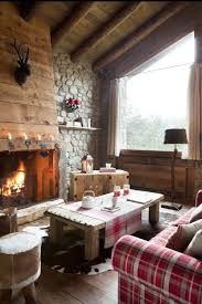 Cozy Cabin Style Living Room With A Tartan Patterned Sofa