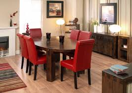 Oak Dining Table And Red Leather Chairs