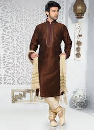 Good Looking Brown Art Silk Front Border Cuffs Work Designer Wear Kurta Pajama