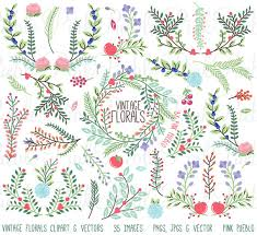 Vintage Floral Clipart Clip Art Rustic Wedding Laurel