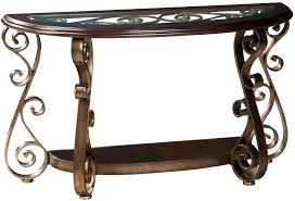 furniture scenic old world sofa table glass top and scroll legs