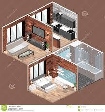 isometrische dachbodenwohnungen mit küche badezimmer