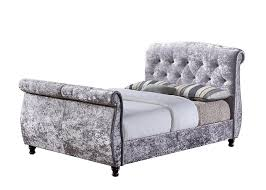 Super King Size Ottoman Bed by Birlea Furniture Toulouse Sleigh Bed Crushed Velvet Steel Super