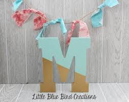 Painted wood letters color block paint dipped letters