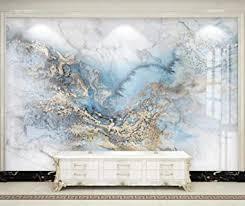 fototapete 3d effekt tapete blau marmoriertes helles fliesengold vliestapete 3d tapeten wanddeko wandbilder wohnzimmer 300cmx210cm