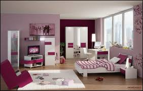Pink Bedroom Ideas For Young Adults With White Gloss Computer Table And Cool Decorative Wall Shelves