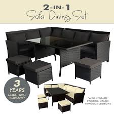 patio sofa dining set new 2 in 1 wicker outdoor sofa dining set garden table chair