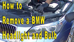 how to remove bmw 5 series headlight bulb replacement car