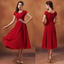 red short sleeve tea length scoop neck beaded chiffon modest