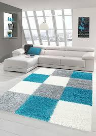shaggy teppich hochflor langflor teppich wohnzimmer teppich gemustert in karo design türkis grau größe 60x110 cm