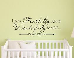I Am Fearfully And Wonderfully Made Psalm Wall Decal Scripture Bible Verse