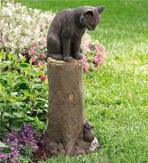 cat garden statue bronze cat and mouse sculpture garden plow hearth