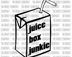 Kids Juice Box Junkie SVG PNG DXF Funny Outline Instant Download Silhouette Cricut Cut Files Cutting