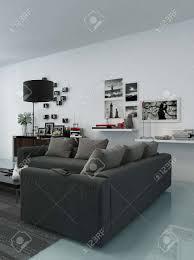 moderne wohnzimmer innenraum mit bequemen polstersitzgruppe zimmerpflanzen und schöne dekorationen