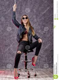 Beautiful Urban Trendy Girl In Black Leather Jacket And ...