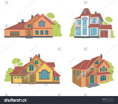 100 Four Houses Collection Flat Illustrations Stock Vector Royalty Free