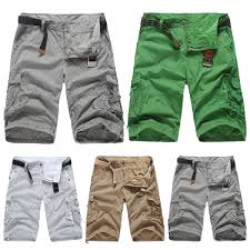 mens beach cool cargo shorts combat stripe cropped trousers baggy