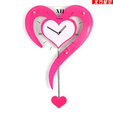 Designer Decoration Swing Wall Clock Pink Color Fashion Personality Heart Pocket Watch Rustic Clocks Creative Large For Sale