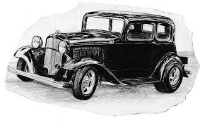 Old Vintage Funny Car Drawing By Cheryl Poland