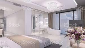 luxuriöses offenes schlafzimmer mit bad mit glaswand stockfoto und mehr bilder architektur